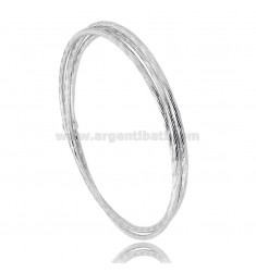 BRACCIALE RIGIDO A CERCHIO DIAMETRO 64 A CANNA TONDA DIAMANTATA MM 2 IN ARGENTO RODIATO TIT 925‰