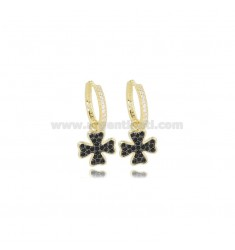 HOOP EARRINGS DIAMETER 10 MM WITH FOUR-LEAF CLOVER PENDANT IN SILVER GOLDEN TIT 925 ‰ AND WHITE AND BLACK ZIRCONIA
