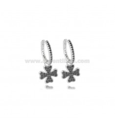 HOOP EARRINGS DIAMETER 10 MM WITH FOUR-LEAF CLOVER PENDANT IN SILVER RHODIUM-PLATED TIT 925 ‰ AND BLACK ZIRCONS