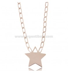 NECKLACE WITH CENTRAL STAR IN ROSE SILVER TIT 925 ‰ CM 40-45