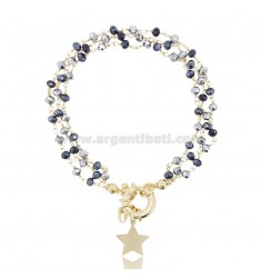 BRACELET WITH HARD STONES AND STAR IN SILVER GOLDEN TIT 925 ‰ AND HARD STONES CM 18-20