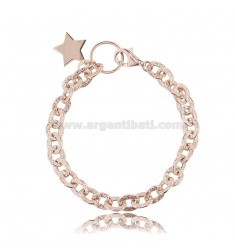 HAMMERED CABLE BRACELET WITH STAR IN ROSE SILVER TIT 925 ‰ CM 18-20