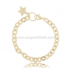 HAMMERED CABLE BRACELET WITH STAR IN SILVER GOLDEN TIT 925 ‰ CM 18-20