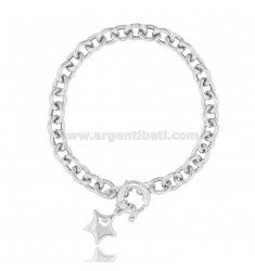 CABLE BRACELET WITH STAR IN RHODIUM-PLATED SILVER TIT 925 ‰ CM 18-20