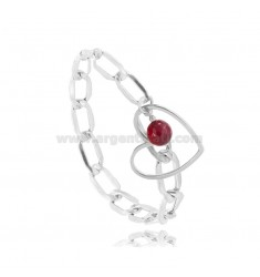 CHAIN BRACELET WITH HEART IN RHODIUM-PLATED SILVER TIT 925 ‰ AND STONE 18-20 CM