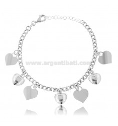 CURB BRACELET WITH HEARTS IN RHODIUM-PLATED SILVER TIT 925 ‰ CM 18-20