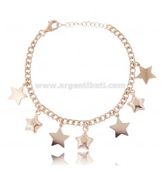 CURB BRACELET WITH STARS IN ROSE SILVER TIT 925 ‰ CM 18-20