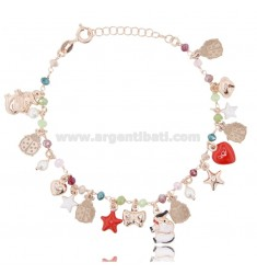 BRACELET WITH HARD STONES AND CHARMS IN ROSE SILVER TIT 925 ‰ AND ENAMEL CM 18-20