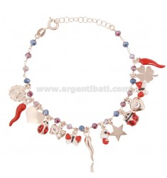 BRACELET WITH CHARMS AND CRYSTALS IN ROSE SILVER TIT 925 ‰ AND ENAMEL CM 18-20