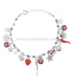 BRACELET WITH CHARMS AND CRYSTALS IN SILVER RHODIUM-PLATED TIT 925 ‰ AND ENAMEL CM 18-20
