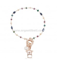 BRACELET WITH CLASP AND STAR IN ROSE SILVER TIT 925 ‰ AND STONES CM 18-20
