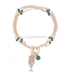 BRACELET WITH CARABINER AND FEATHER IN ROSE SILVER TIT 925 ‰ AND STONES CM 18-20