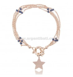 BRACELET WITH CARABINER AND STAR IN ROSE SILVER TIT 925 ‰ AND STONES CM 18-20