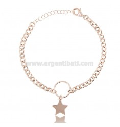 CURB BRACELET WITH STAR IN ROSE SILVER TIT 925 ‰ CM 18-20