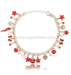 CURB BRACELET WITH ROSE SILVER CHARMS TIT 925 ‰ AND ENAMEL 18-20 CM