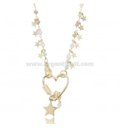NECKLACE WITH HEART AND STARS IN SILVER GOLDEN TIT 925 ‰ AND STONES CM 40-45