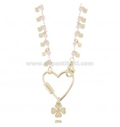 NECKLACE WITH HEART AND QUADRIFOLILI IN SILVER GOLDEN TIT 925 ‰ AND STONES CM 40-45