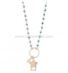 NECKLACE WITH STAR AND PEARL IN ROSE SILVER TIT 925 ‰ AND STONES CM 40-42