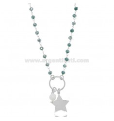 NECKLACE WITH STAR AND PEARL SILVER RHODIUM TIT 925 ‰ AND STONES CM 40-42