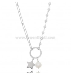 NECKLACE WITH STAR AND PEARLS IN RHODIUM-PLATED SILVER TIT 925 ‰ CM 40-45