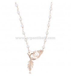 NECKLACE WITH HANDCUFFS AND FEATHER IN ROSE SILVER TIT 925 ‰ AND PEARLS CM 40-45