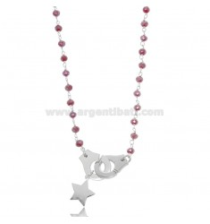NECKLACE WITH HANDCUFFS AND STAR IN RHODIUM-PLATED SILVER TIT 925 ‰ AND STONES CM 40-45