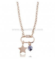 NECKLACE WITH HOOK AND STAR IN ROSE SILVER TIT 925 ‰ HARD STONE AND ZIRCONS CM 40-45