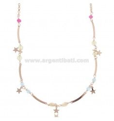 NECKLACE WITH STARS IN ROSE SILVER TIT 925 ‰ AND HARD STONE 40-45 CM