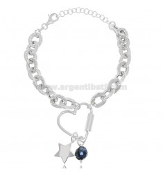 HAMMERED CABLE BRACELET WITH HEART AND STAR IN RHODIUM-PLATED SILVER TIT 925 ‰ AND STONES CM 18-20