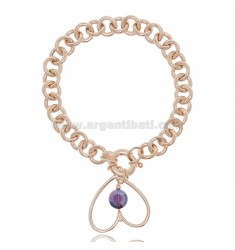 BRACELET WITH HEART AND SNAP HOOK IN ROSE SILVER TIT 925 ‰ AND STONES CM 18-20