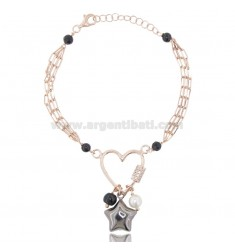 BRACELET WITH HEART AND STAR IN ROSE SILVER AND RUTHENIUM TIT 925 ‰ AND STONES CM 18-20