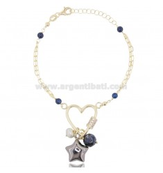 BRACELET WITH HEART AND STAR IN GOLDEN SILVER AND RUTHENIUM TIT 925 ‰ AND STONES CM 18-20