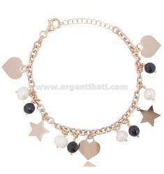BRACELET WITH HEART AND STARS IN ROSE SILVER TIT 925 ‰ AND STONES CM 18-20