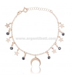 BRACELET WITH STARS AND MOON IN ROSE SILVER TIT 925 ‰ AND STONES CM 18-20
