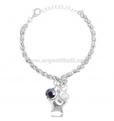 BRACELET WITH STAR IN SILVER RHODIUM-PLATED TIT 925 ‰ AND STONES CM 18-20