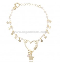 BRACELET WITH HEART AND STARS IN SILVER GOLDEN TIT 925 ‰ AND HARD STONES CM 17-20