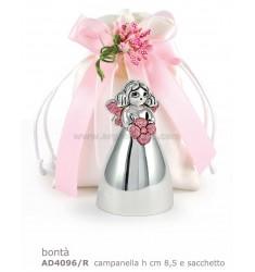 CAMPANELLA BONTA' H. CM 8.5 C/GLITTER ROSA E SACCHETTO