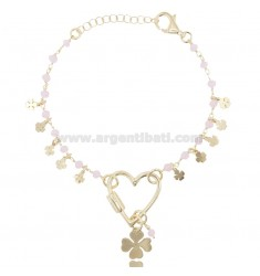 BRACELET WITH HEART AND FOUR-LEAVES IN SILVER GOLDEN TIT 925 ‰ AND STONES CM 17-20