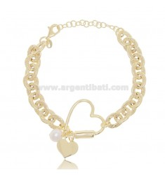 HAMMERED CABLE BRACELET WITH HEARTS AND PEARL SILVER GOLDEN TIT 925 ‰ CM 17-19