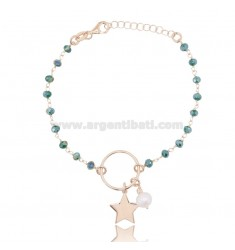 BRACELET WITH STAR AND PEARL IN ROSE SILVER TIT 925 ‰ AND HARD STONES CM 17-20