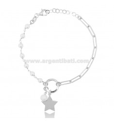 BRACELET WITH STAR AND PEARLS IN RHODIUM-PLATED SILVER TIT 925 ‰ CM 17-20