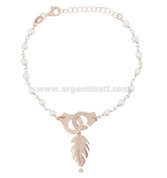BRACELET WITH HANDCUFFS AND FEATHER IN ROSE SILVER TIT 925 ‰ AND PEARLS CM 17-19