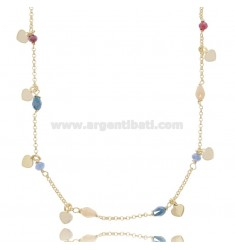 NECKLACE WITH HEARTS IN GOLDEN SILVER TIT 925 ‰ AND STONES CM 40-43