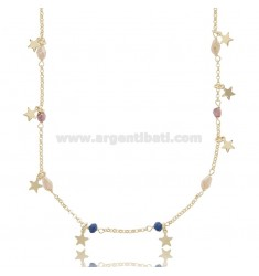NECKLACE WITH STARS IN SILVER GOLDEN TIT 925 ‰ AND STONES CM 40-43