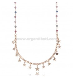 NECKLACE WITH STARS IN ROSE SILVER TIT 925 ‰ AND STONES CM 40-43