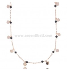 NECKLACE WITH HEARTS IN ROSE SILVER TIT 925 ‰ AND STONES CM 40-43