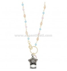 NECKLACE WITH STAR IN GOLDEN SILVER AND Ruthenium TIT 925 ‰ AND STONES CM 40-43