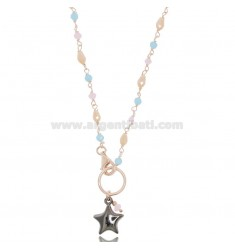 NECKLACE WITH STAR IN ROSE SILVER AND RUTHENIUM TIT 925 ‰ AND HARD STONES CM 40-43