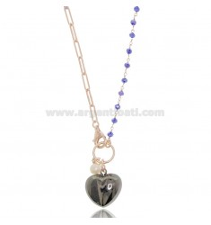 NECKLACE WITH HEART IN ROSE SILVER AND Ruthenium TIT 925 ‰ AND STONES CM 40-43