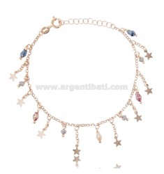 BRACELET WITH STARS IN ROSE SILVER TIT 925 ‰ AND STONES CM 18-20